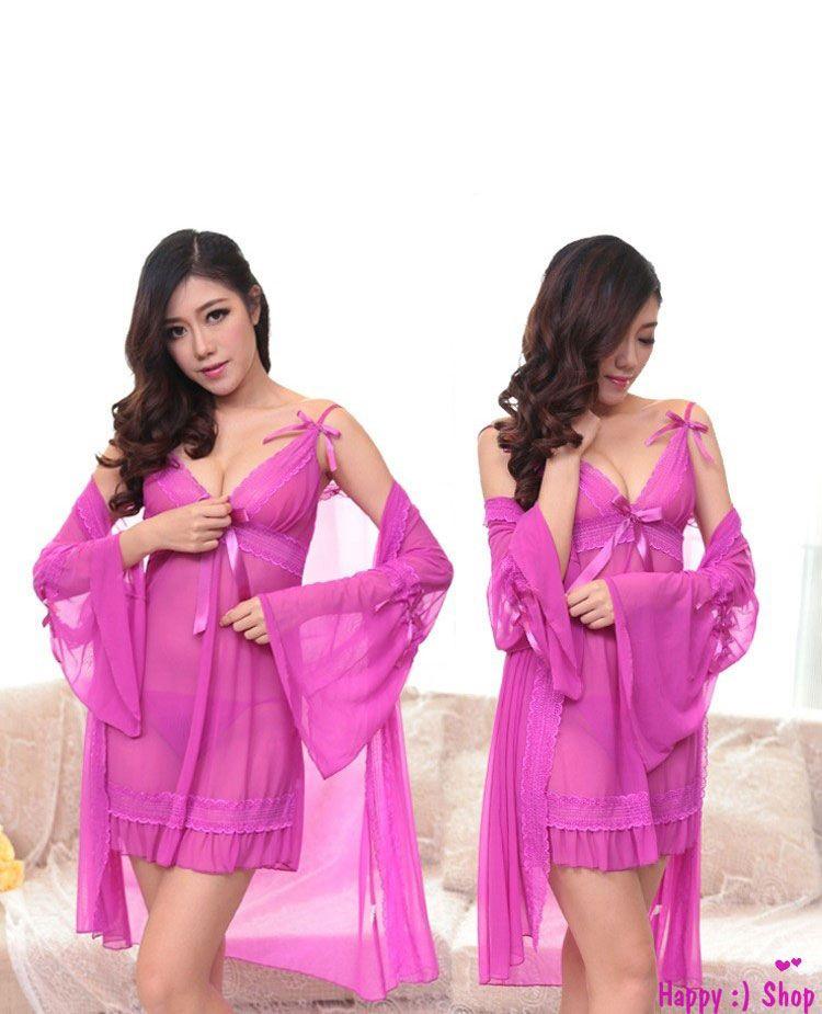 Áo choàng kèm váy ngủ gợi cảm màu hồng tím TK867