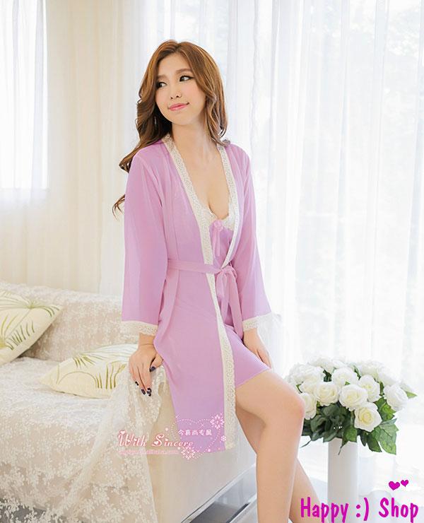 Áo choàng nữ kèm đầm ngủ voan dễ thương TK248 màu tím nhạt