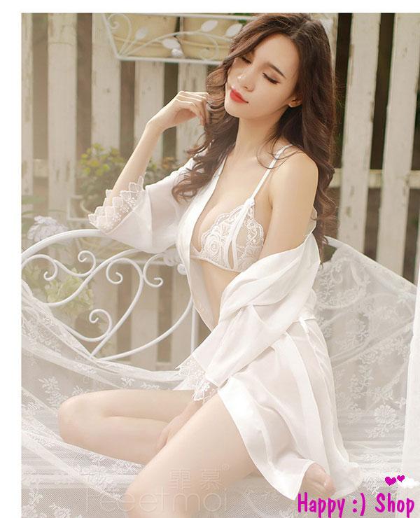 Áo choàng voan viền ren kèm bộ đồ lót sexy trắng tinh khôi TK977