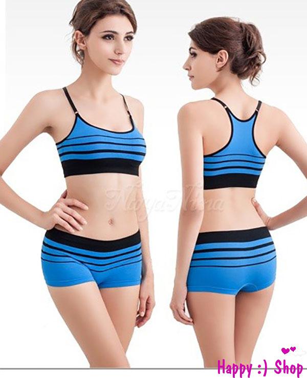 Bộ quần áo thể theo nữ gợi cảm gồm áo croptop và quần đùi co giãn không đường may TK681