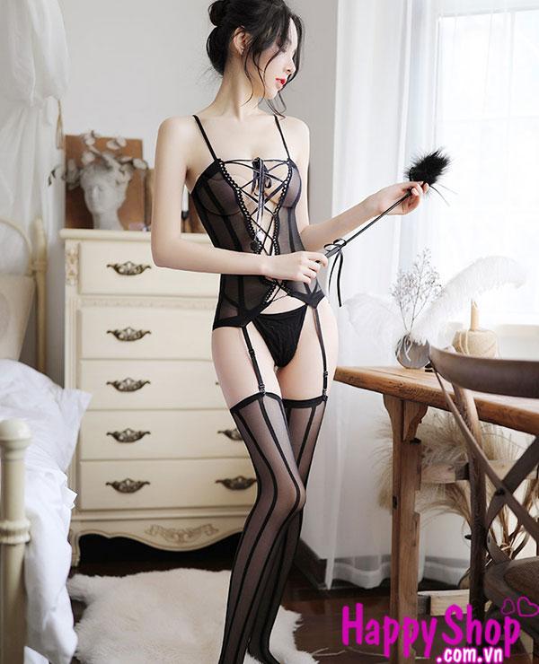 đồ ngủ lưới kèm vớ sexy