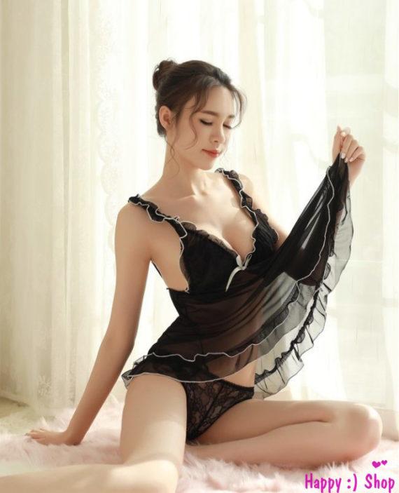 Đầm-ngủ-sẻ-sau-phong-cách-quyến-rũ-nhẹ-nhàng-TK684-màu-đen