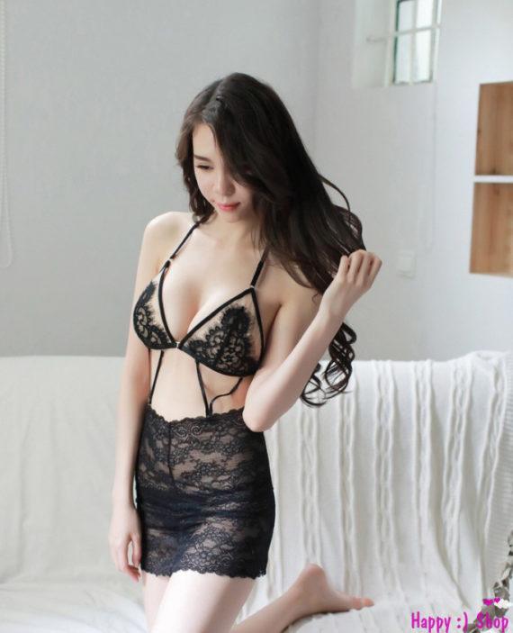 Đồ-ngủ-sexy-với-bra-ren-liền-chân-váy-ôm-TK1143