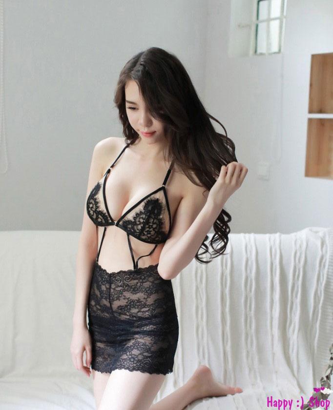 Đồ ngủ sexy với bra ren liền chân váy ôm TK1143