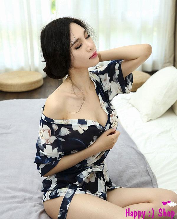 TK723 ao choang kimono xanh hoa trang 1