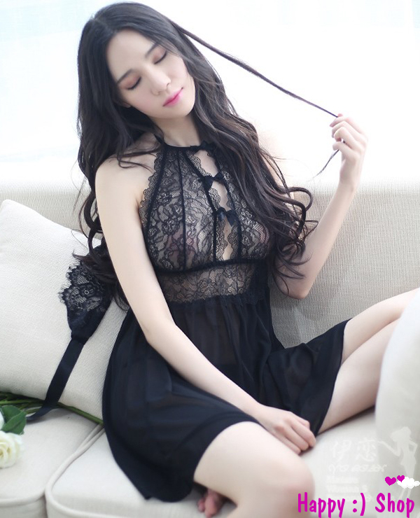 Váy ngủ thanh lịch ngọt ngào quyến rũ TK613 màu đen