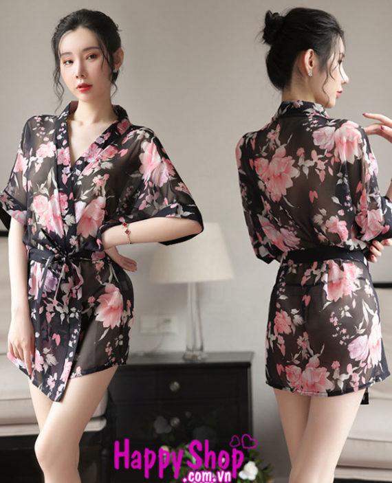 áo choàng ngủ kimono hoa