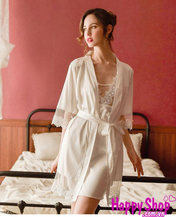 set váy ngủ kèm áo choàng