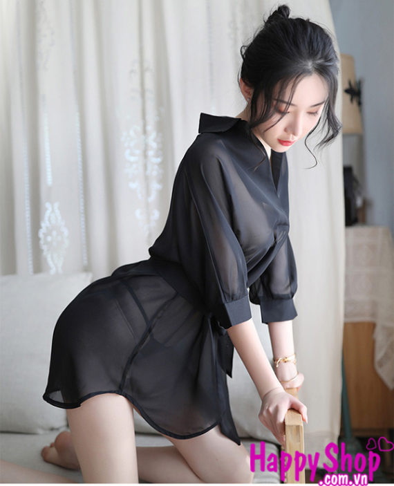 Đầm ngủ sơ mi xuyên thấu