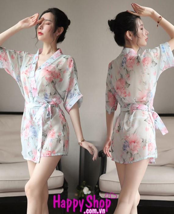 áo ngủ kimono voan hoa