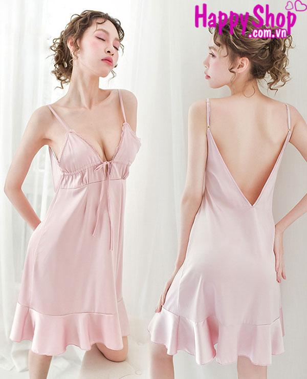 Đầm ngủ lụa màu hồng