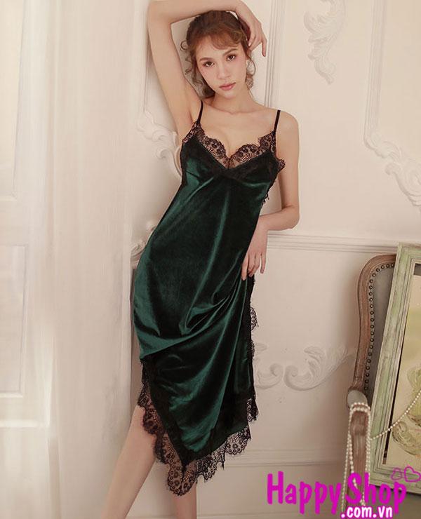 Đầm ngủ bằng nhung dài