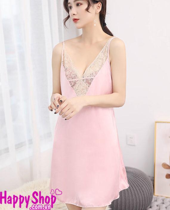váy ngủ lụa màu hồng