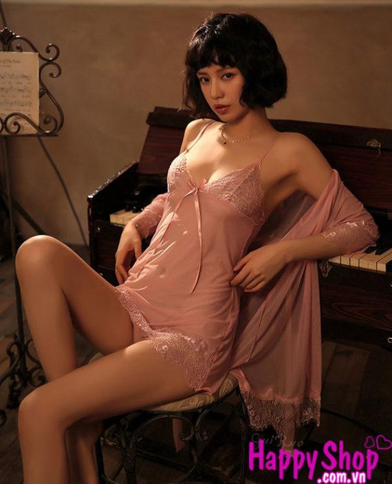 áo choàng kèm váy ngủ 2 dây