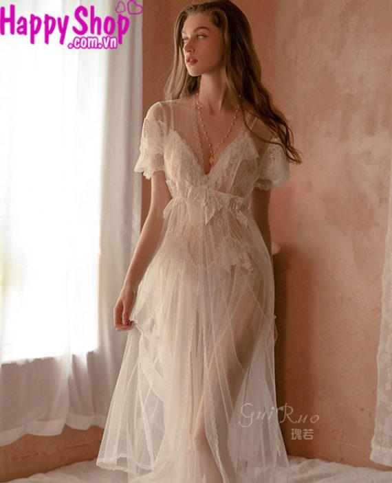 đồ ngủ cô dâu voan trắng dài